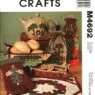 McCall's Sewing Pattern 4692 Christmas Kitchen Gifts Tray Mitt Tea Cozy Place Mat Wine Bottle Bag