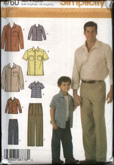 Simplicity Sewing Pattern 4760 Boys Size S-L Men's size S-XL Pants Button Front Shirt