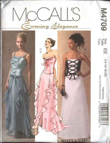 McCall's Sewing Pattern 4709 Misses 10-16 Formal Prom Evening Gown Two-Piece Dress Top Skirt