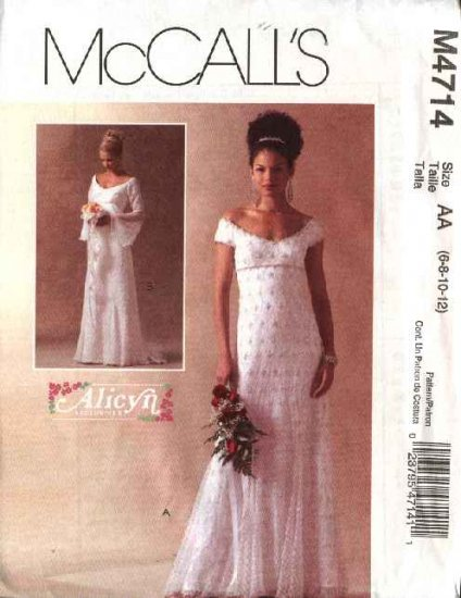 McCall's Sewing Pattern 4714 Misses Size 10-16 Alicyn Bridal Gown Wedding Dress Cut On Train