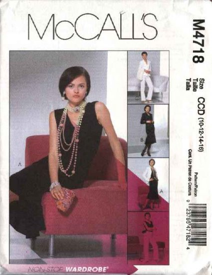 McCall's Sewing Pattern 4718 Misses Size 10-16 Wardrobe Lined Jacket Skirt Pants Top