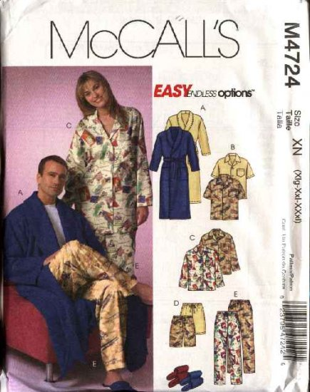 """McCall's Sewing Pattern M4724 4724 Misses Mens Unisex Chest Size 46-56"""" Easy Unisex Pajamas Bathrobe"""