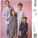 McCall's Sewing Pattern 4725 M4725 Misses Mens Boys Girls All Size Nightshirts Pajamas Pants Tops