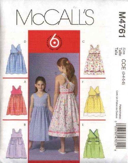 McCall's Sewing Pattern 4761 M4761 Girls Size 3-6 Easy Sundress Sleeveless Raised Waist Dress