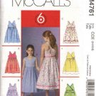 McCall's Sewing Pattern 4761 M4761 Girls Size 10-14 Easy Sundress Sleeveless Raised Waist Dress