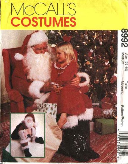 """McCall's Sewing Pattern 8992 7384 M8992 Mens Chest Size 46-48"""" Santa Claus Costume Gift Bag Doll"""
