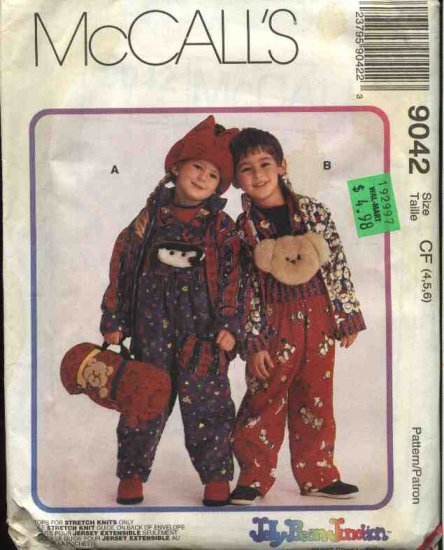 McCall's Sewing Pattern 9042 Boys Girls Size 4-5-6 Overalls Unlined Jacket Top Hat Blanket Roll