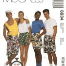 "McCall's Sewing Pattern 8934 M8934 6104 Misses Mens Small Hip Size 34 1/2 - 36"" Unisex Boxer Shorts"