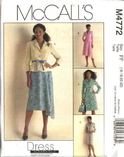 McCall's Sewing Pattern 4772 Misses Size 12-18 Lined Jacket Skirt Suit Button Front Dress