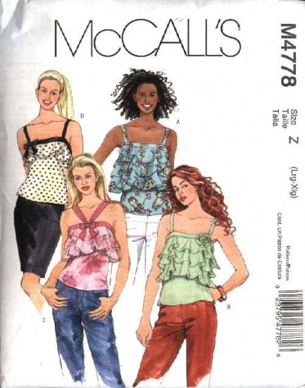 McCall's Sewing Pattern 4778 Misses Size 4-14 Lined Pullover Camisole Style Ruffled Tops