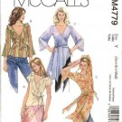 McCall's Sewing Pattern 4779 Misses Size 4-14 Front Wrap Short Long Sleeve Blouses Tunics Tops