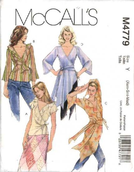 McCall's Sewing Pattern 4779 Misses Size 16-22 Front Wrap Short Long Sleeve Blouses Tunics Tops