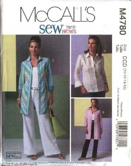 McCall's Sewing Pattern 4780 Misses Size 10-16 SewNews Button Front Shirt Tunic Tops