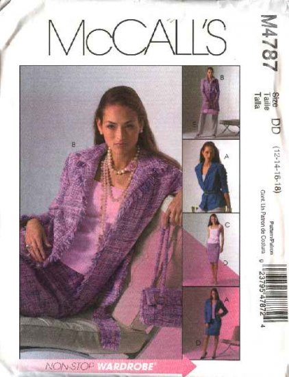 McCall's Sewing Pattern 4787 Misses Size 8-14 Wardrobe Lined Jacket Straight Skirt Pants Top