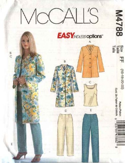 McCall's Sewing Pattern 4788 Misses Size 16-22 Easy Wardrobe Unlined Jacket Top Cropped Pants