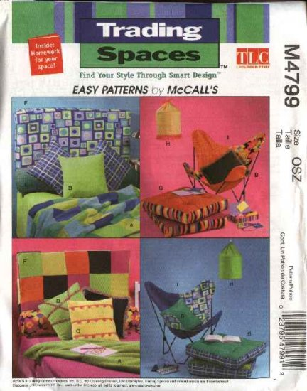 McCall's Sewing Pattern 4799 Trading Spaces Pillow Bolster Headboard Cushion Butterfly Chair