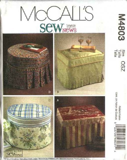 McCall's Sewing Pattern 4803 SewNews Round Rectangle Embellished Ottoman Slipcovers