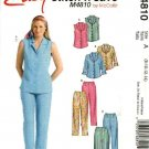 McCall's Sewing Pattern 4810 M4810 Misses Size 8-14 Easy Button Front Blouse Shirt Cropped Pants