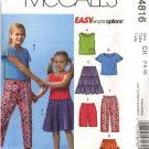 McCall's Sewing Pattern 4816 Girls Size 7-10 Easy Wardrobe Knit Tops Tiered Skirt Pants Shorts