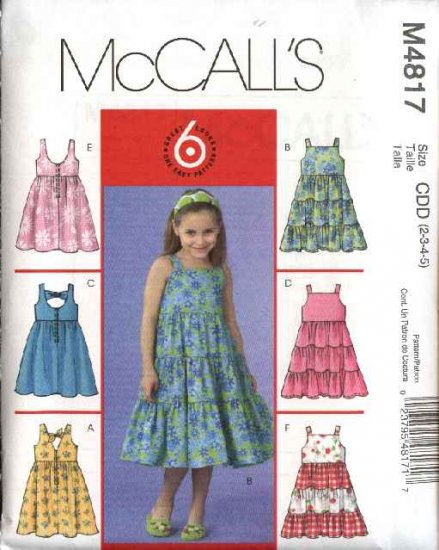 McCall's Sewing Pattern 4817 Girls Size 2-3-4-5 Easy Sundress Summer Sleeveless Dresses Tiered Skirt