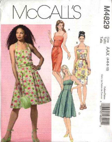 McCall's Sewing Pattern 4829 M4829 Misses Size 4-10 Summer Sundress Full Straight Skirt Dress