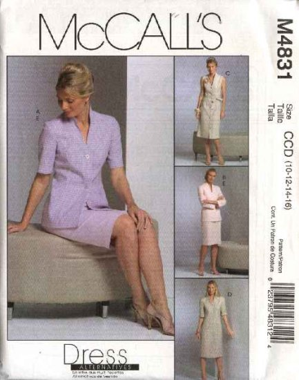 McCall's Sewing Pattern 4831 Misses Size 10-16 Unlined Jacket Button Front Dress Straight Skirt