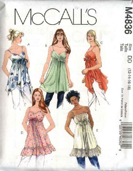McCall's Sewing Pattern 4836 Misses Size 4-10 Raised Waist Empire Loose Tops Tunics