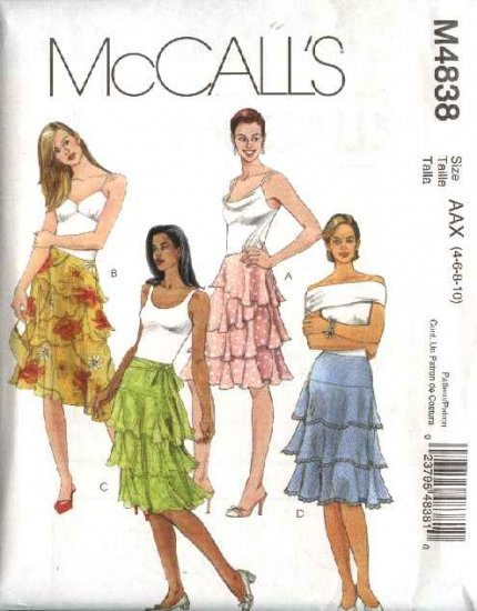 McCall's Sewing Pattern 4838 Misses Size 4-10 Tiered Layered  Lined Yoke Skirts
