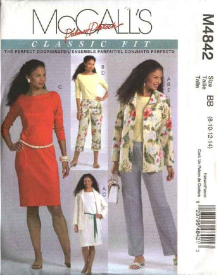 McCall's Sewing Pattern 4842 Misses Size 8-14 Classic Wardrobe Jacket Knit Top Dress Pants