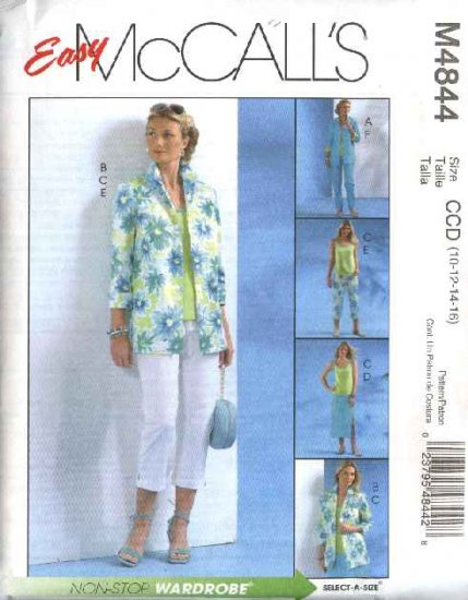 McCall's Sewing Pattern 4844 Misses Size 16-22 Easy Wardrobe Shirt-Jacket Pants Top Shell Skirt