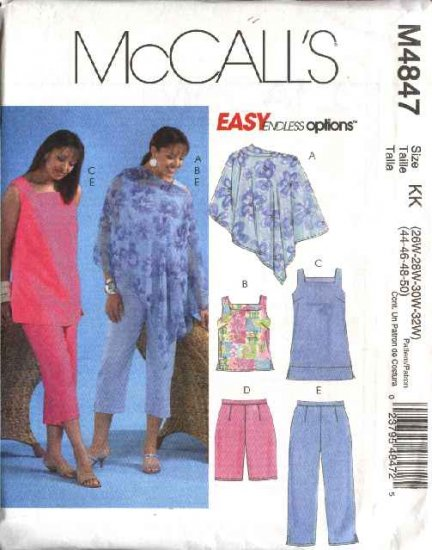 McCall's Sewing Pattern 4847 Womans Plus Size 26W-32W Easy Summer Tops Shorts Poncho Capris