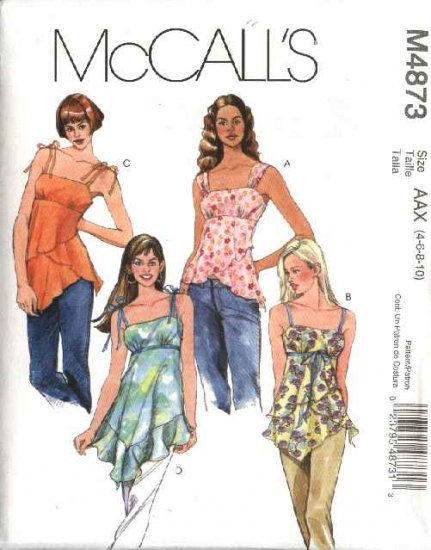 McCall's Sewing Pattern 4873 Misses Size 4-10 Layered Raised Waist Empire Summer Tops