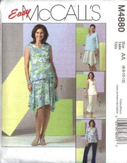 McCall's Sewing Pattern 4880 Misses Size 8-14 Easy Maternity Wardrobe Tops Skirt Long Cropped Pants