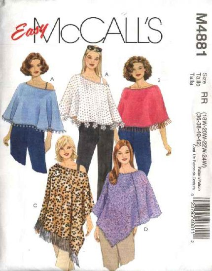McCall's Sewing Pattern 4881 Womans Plus Size 26W-32W Easy Pullover Ponchos Cape Ruana