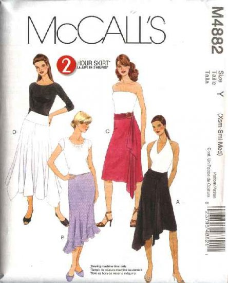 McCall's Sewing Pattern 4882 Misses Size 4-14 2-Hour Flared Flounced Fitted Skirts Sashes Belts