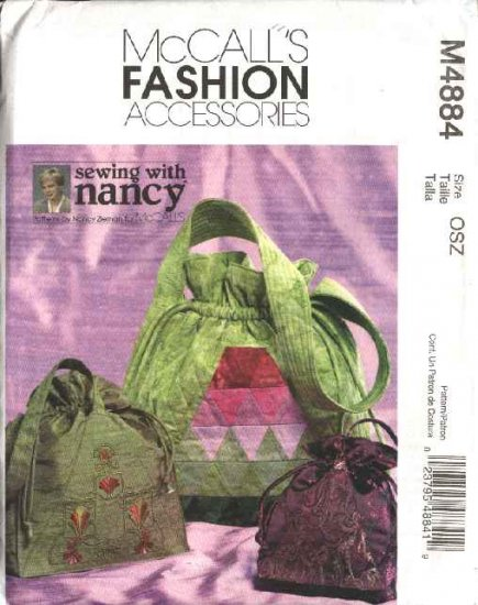 McCall's Sewing Pattern 4884 Sewing With Nancy Three Embroidered Quilted Drawstring Bags