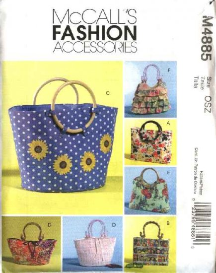 McCall's Sewing Pattern 4885 Six Lined Handbags Totebags Purses