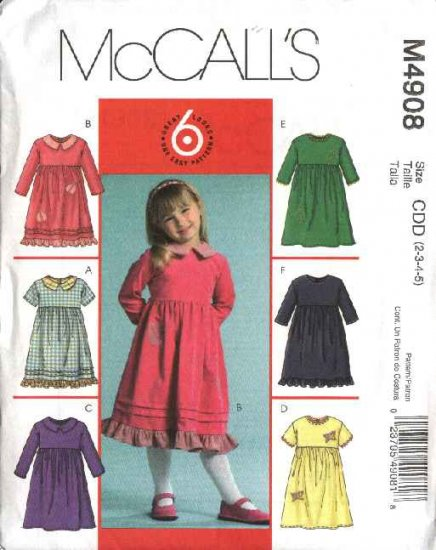 McCall's Sewing Pattern 4908 Girls Size 2-5 Easy Short Long Sleeve Gathered Waist Dress