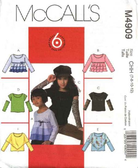 McCall's Sewing Pattern 4909 Girls Size 3-6 Easy Pullover Knit Tops Sleeve Bodice Variations