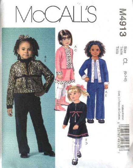 McCall's Sewing Pattern 4913 Girls Size 2-5 Cardigan Jacket Pull On A-Line Skirt Long Pants