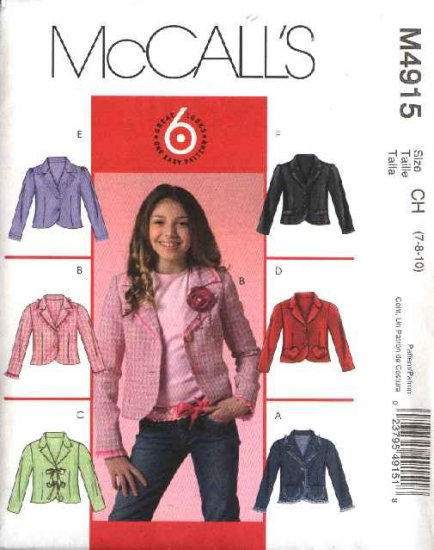 McCall�s Sewing Pattern 4915 Girls Size 7-10 Easy Unlined Long Sleeve Button Front Jacket