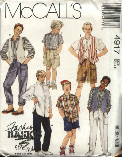 McCall�s Sewing Pattern 4917 M4917 Boys Size 12 Basic Vest Button Front Shirt Long Pants Shorts