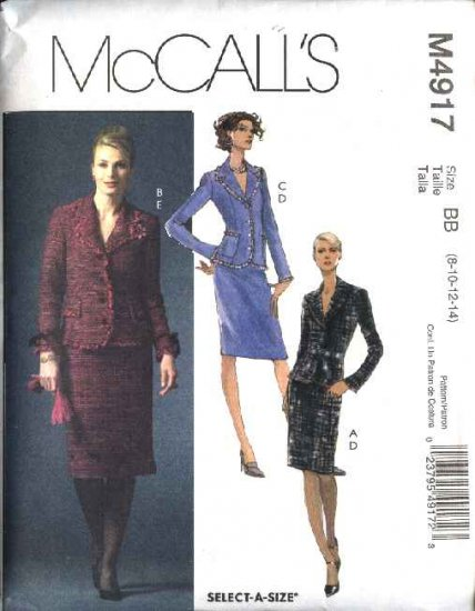 McCall's Sewing Pattern 4917 M4917 Misses Size 8-14 Lined Jackets Straight Skirts Suit