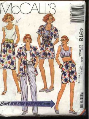 McCall's Sewing Pattern 4918 Misses Size 6-8 Easy Wardrobe Mock Wrap Skirt Top Pants Shirt Shorts