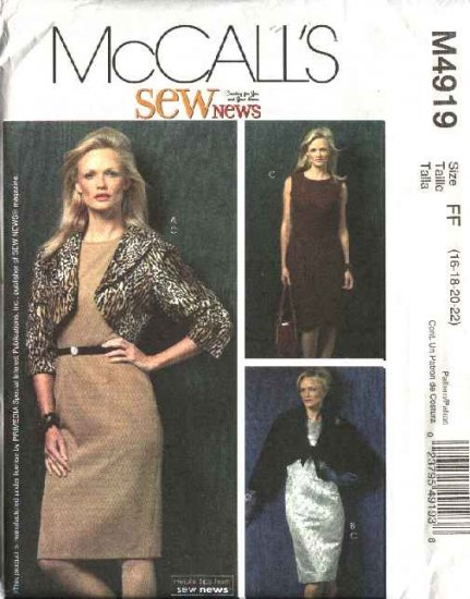 McCall's Sewing Pattern 4919 Misses Size 16-22 Lined Unlined Shrug Boleros Jackets Straight Dress