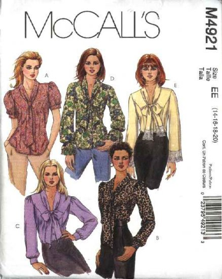 McCall's Sewing Pattern 4921 Misses Size 10-16 Button Front Bow Tie Blouse Sleeve Variations