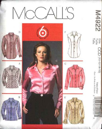 McCall's Sewing Pattern 4922 Misses Size 6-12 Easy Princess Seam Button Front Shirt Blouse Top