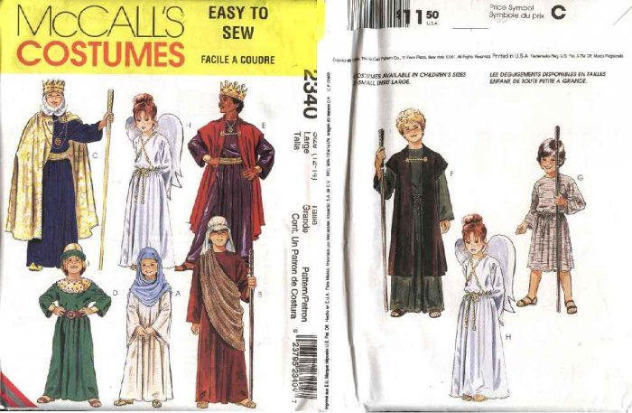 McCall�s Sewing Pattern 2340 Boys Girls Size 4-6 Nativity Angel King Mary Wise Men Costumes