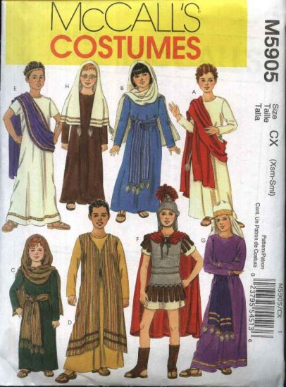 McCall�s Sewing Pattern 5905 M5905 Girls Boys Size 7-16 Biblical Costumes Christmas Easter Passion
