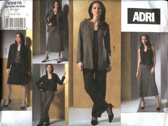 Vogue Sewing Pattern 2875 Misses Size 6-8-10 ADRI Wardrobe Jackets Top Skirt Pants
